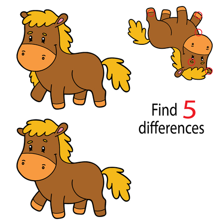Illustration of pony in isolated background. Kids puzzle educational game Finding 5 differences  for preschool children Illustration