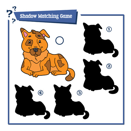 Vector illustration of educational shadow matching game with cartoon character for children