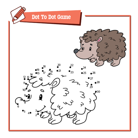 Vector illustration of dot to dot educational puzzle game with happy cartoon character for children