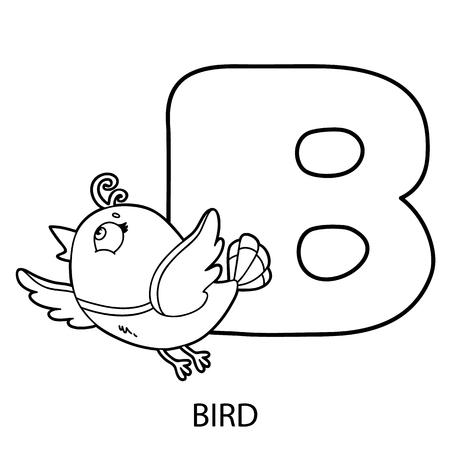 Página Para Colorear Alfabeto De Animales. Ilustración Del Vector De ...