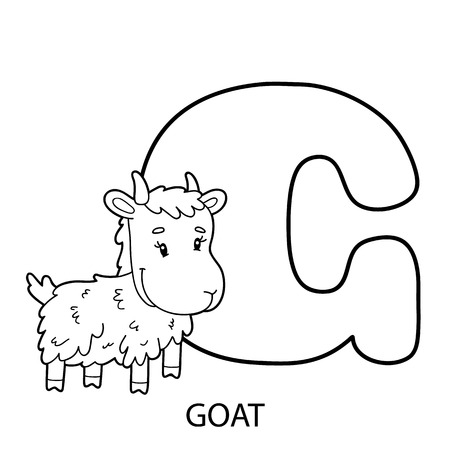 Página Para Colorear Alfabeto. Ilustración De Vector De Personaje De ...