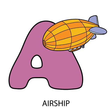 Cartoon alphabet card. Vector illustration of educational alphabet card with cartoon character for kids Vectores