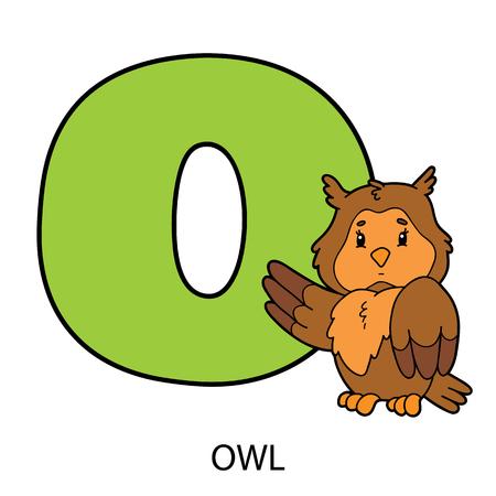 Cartoon alphabet card. Vector illustration of educational alphabet card with cartoon character for kids Illustration