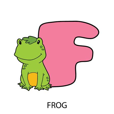 cartoon alphabet card. Vector illustration of educational alphabet card with cartoon character for kids