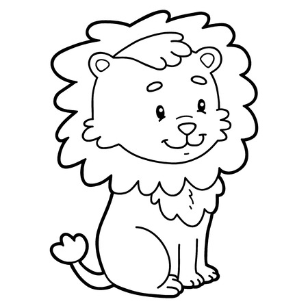 Vector illustration of cute cartoon character for children, coloring page.
