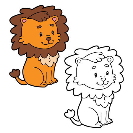 Vector illustration coloring page of cartoon character for children, coloring and scrap book.