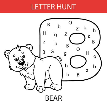 Vector illustration of printable kids alphabet worksheets educational game Letter hunt for preschool children practice with cartoon character - bear