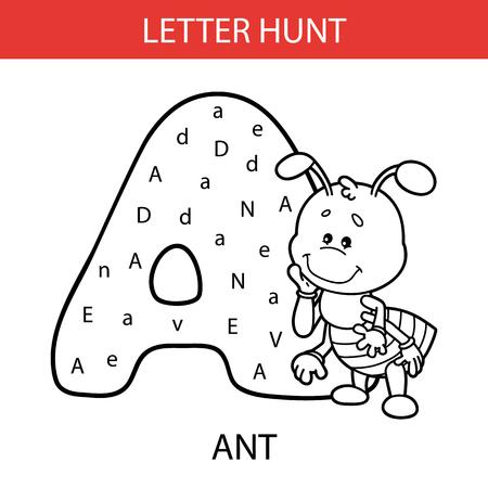 Vector illustration of printable kids alphabet worksheets educational game Letter hunt for preschool children practice with cartoon character - ant