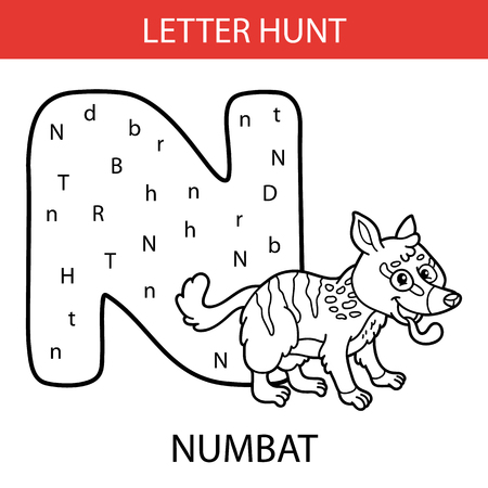 Vector illustration of printable kids alphabet worksheets educational game Letter hunt for preschool children practice with cartoon character  numbat