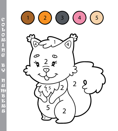 coloring by numbers educational game with squirrel character