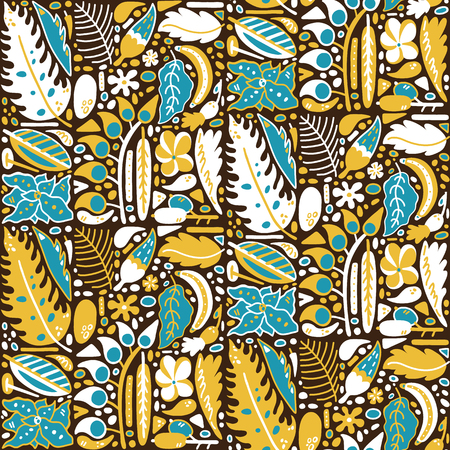 vector seamless pattern background with ornate abstract plants