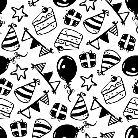 Vector seamless background pattern with birthday party