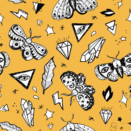 Vector  seamless background pattern with hand drawn butterflies and other ornate objects Illusztráció