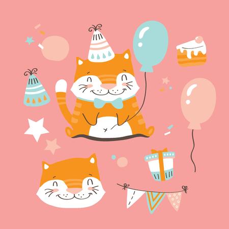 Vector illustration of funny birthday cat Illustration