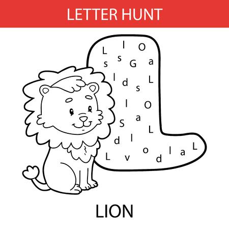 Lion outline on L letter illustration