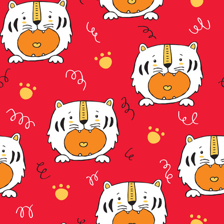 Vector seamless background pattern with baby tiger and paws  イラスト・ベクター素材