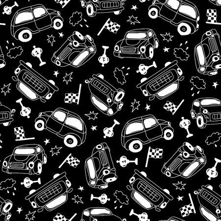 Vector seamless background pattern with retro car