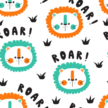 Vector seamless background pattern with cute baby lions  イラスト・ベクター素材
