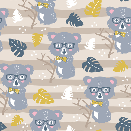 vector seamless background pattern with funny baby koalas for fabric, textile.
