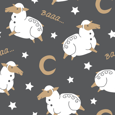 A vector seamless background pattern with funny baby sheep in sky for fabric, textile