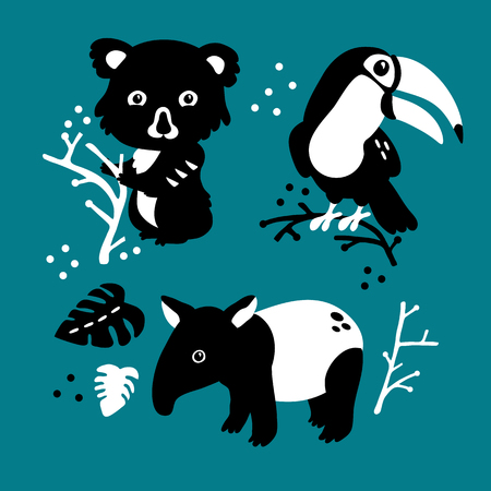 Vector illustration of cute funny baby rainforest animals set for print, poster, scandinavian design