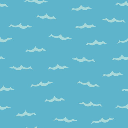 vector seamless background pattern with funny ocean waves for fabric, textile