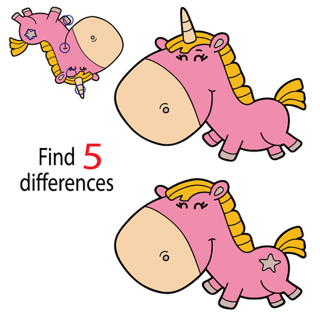 Vector illustration of kids puzzle educational game Find 5 differences for preschool children with cartoon unicorn character