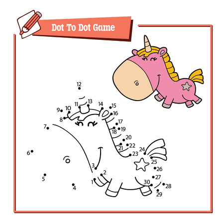 Vector illustration educational game of dot to dot kid puzzle with happy cartoon unicorn for children Ilustração
