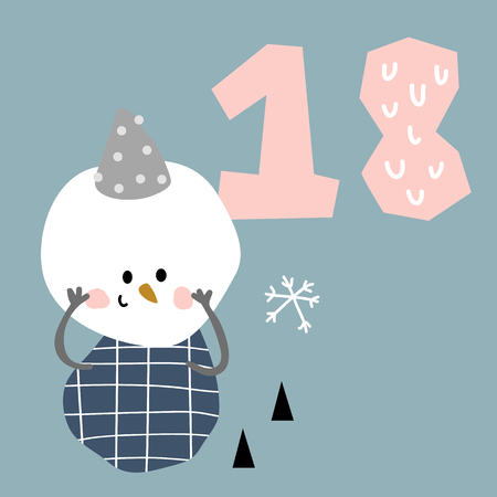 vector illustration of advent calendar page in scandinavian style for kids room