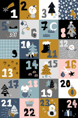 vector illustration of kids adventure game in Scandinavian style, Christmas characters and elements, ornate numbers