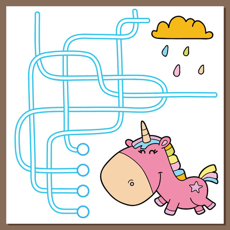 Magic unicorn maze educational game. Vector illustration of maze (labyrinth) educational game with cute cartoon rainbow unicorn for children