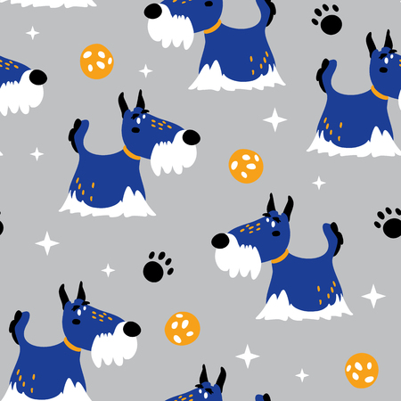 vector seamless background patterns in scandinavian style, cartoon cute dog characters and elements for fabric design, wrapping paper, notebooks covers