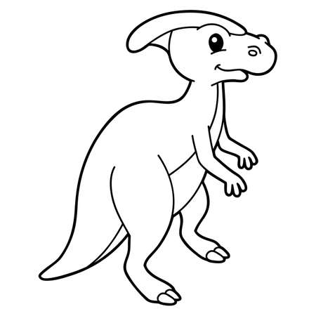 Vector illustration coloring page with cartoon dinosaur for children, coloring and scrap book, printable