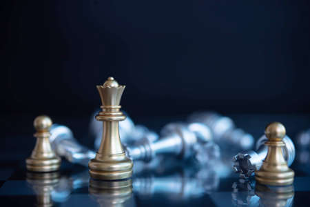 gold chess leader ideas and competition and strategy, business success concept, chess board game