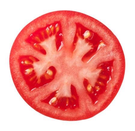 Pomodoro fetta isolato su sfondo bianco, vista superiore Archivio Fotografico - 16354271