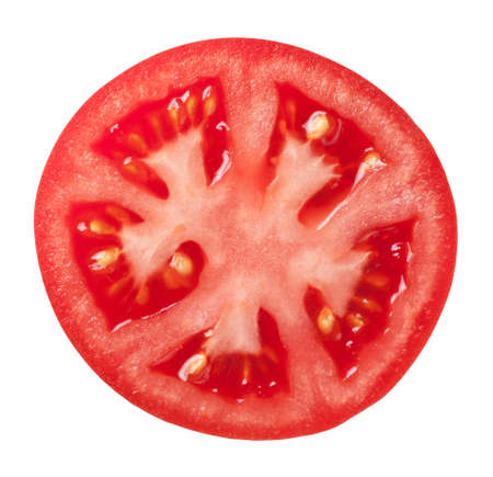 Tomato slice isolated on white background, top view Banque d'images
