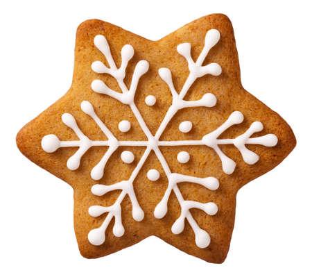 galletas de navidad: Forma de Estrella de Navidad del pan de jengibre aislado sobre fondo blanco