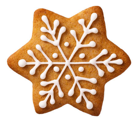 holiday cookies: Star shape christmas gingerbread isolated on white background