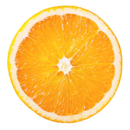 Plakje verse oranje geïsoleerd op witte achtergrond Stockfoto