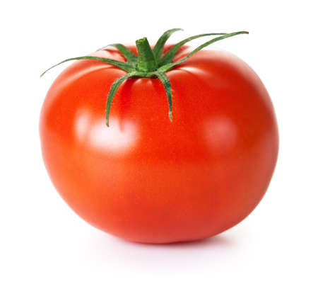 Fresh red tomato with green stem on white background Stock Photo