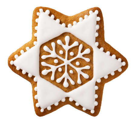 Christmas gingerbread isolated on white background, star shape