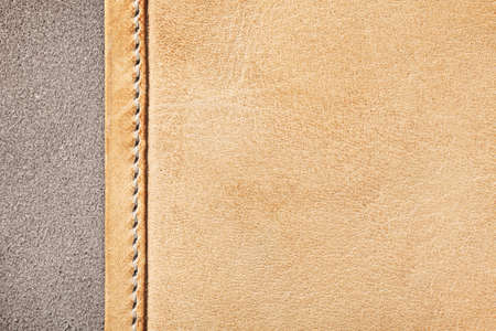 Brown leather texture for background. Macro shot, top view Stock Photo
