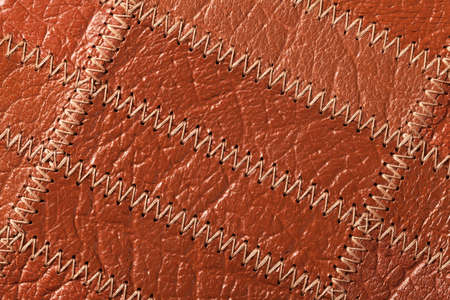 Close up of brown leather texture background. Top view photo