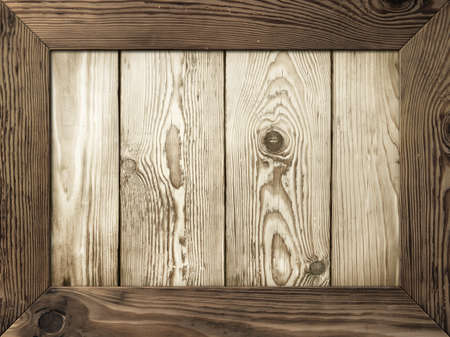 Old wooden frame with wood planks inside