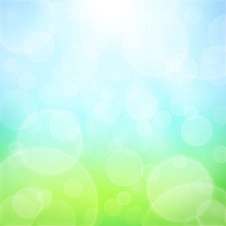 Spring abstract background with bokeh and sun rays  Grass and blue sky
