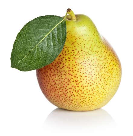 Ripe pear isolated on white background. Macro shot photo