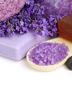 Lavender spa - flowers, salt, soap - health and beauty composition on white background. Empty room for text photo