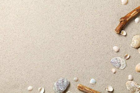 Sand background. Sandy beach texture. Summer concept. Top view