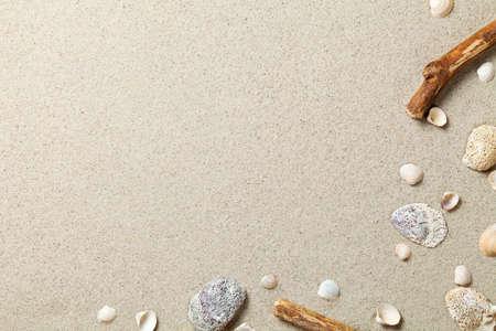 Sand background. Sandy beach texture. Summer concept. Top view