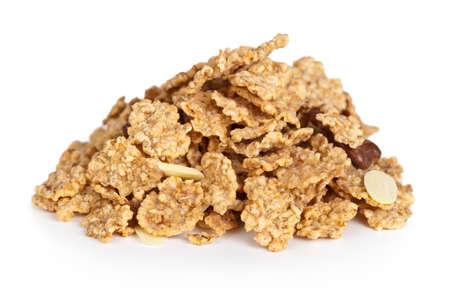 Pile of cereal muesli on white background. Macro shot Standard-Bild